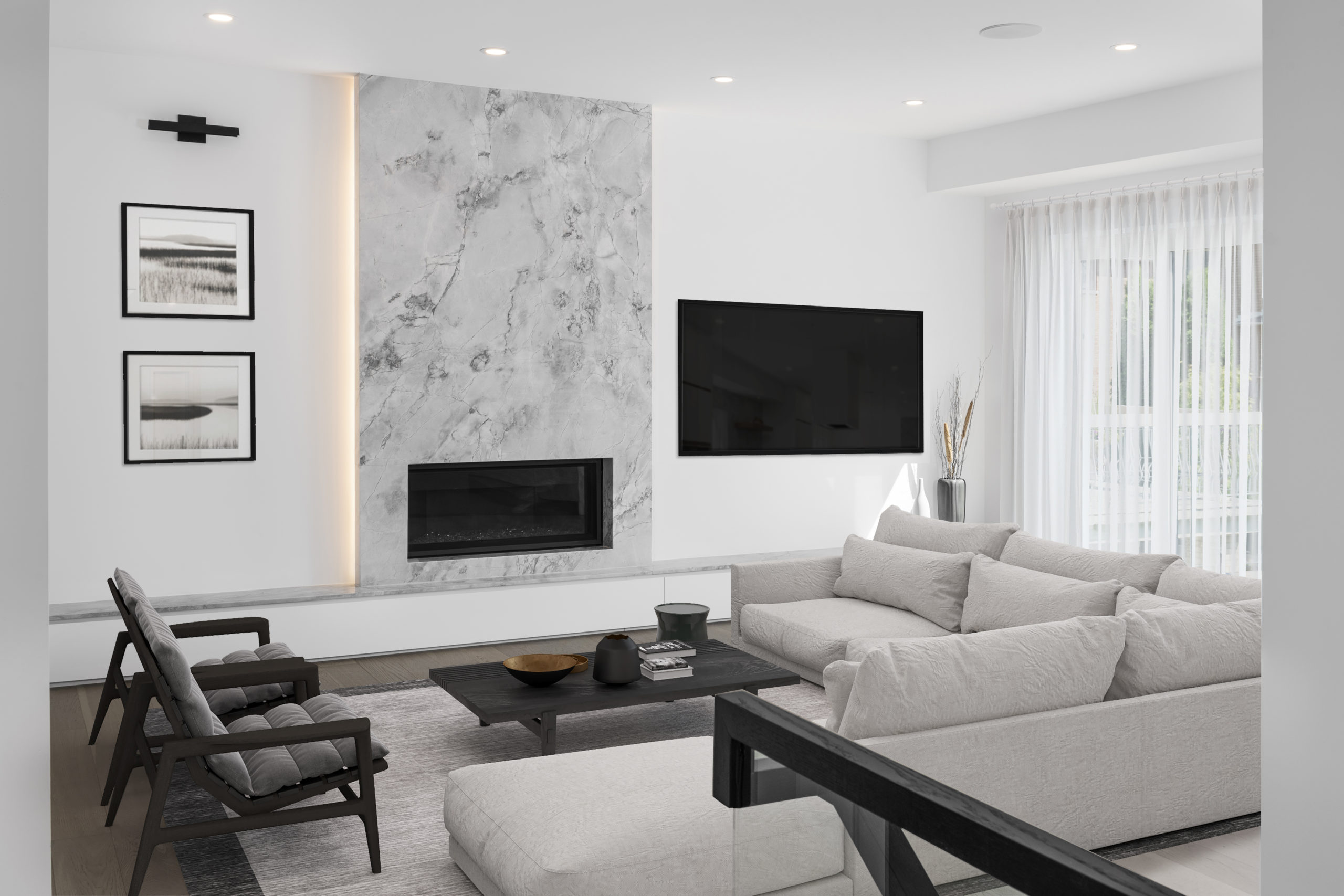 living room, fireplace, TV, built in, custom home, wood bridge, modern, architecture, contemporary, skylight, clean, bright, airy, interior design, interiors,